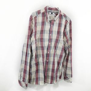 Topman Red Cream Plaid Longsleeve Button Shirt XL